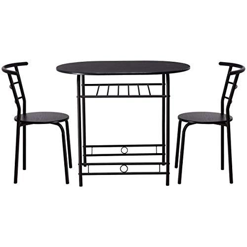 COSTWAY 3 Pezzi Set da Pranzo, Set Tavolo da Cucina con 2 Sedie, Moderno ed Elegante, Vari Colori Disponibili