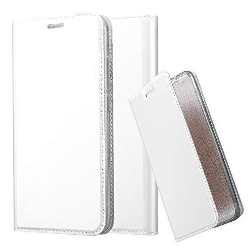 Cadorabo Hülle für Huawei NOVA Plus - Hülle in Silber – Handyhülle mit Standfunktion & Kartenfach im Metallic Erscheinungsbild - Case Cover Schutzhülle Etui Tasche Book Klapp Style