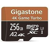 Gigastone Carte mémoire Micro SD XC 256 Go, 4 K UHD Game Turbo, UHS-I U3 C10 Classe 10 Nintendo Switch, Lecture/écriture 100/80 Mo/s, Garantie 10 Ans + 5 Ans de récupération de données