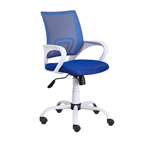 Phase, Silla de Oficina, Silla de Escritorio o Despacho, Acabado en Azul y Blanco, Medidas: 60 cm (Ancho) x 60 cm (Fondo) x 90-102 cm (Alto)