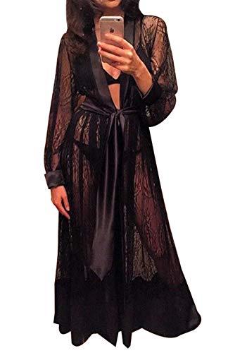 Loalirando - Conjunto de lencería para mujer, con encaje, volante, manga larga, transparente, ropa de noche, albornoz con cinturón Negro M