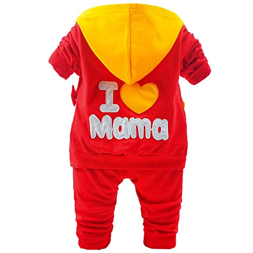 Girl Cotton Hoodie I Love Mama Long-Sleeved T-Shirt and Pants 3Pcs of Clothing(BR,3-4Y) Bright Red