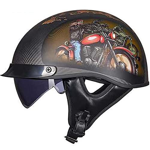 Helmets Classic Vintage Moto Medio Casco,Fibra de Carbon Casco de Scooter Hombres Mujeres Cara Abierta Verano Protección Casco ECE Certificación E,L57~58CM