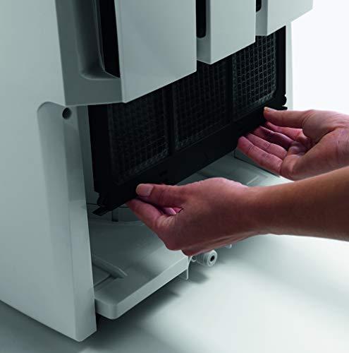 De'Longhi DD230P Deshumidificador Multifunción con Filtro de Limpieza de Aire, 30 L/d, Sistema de Bombeo y Drenaje Continuo, Gas Ecológico, Temporizador Programable, 540 W, 51 Db, Blanco y Gris
