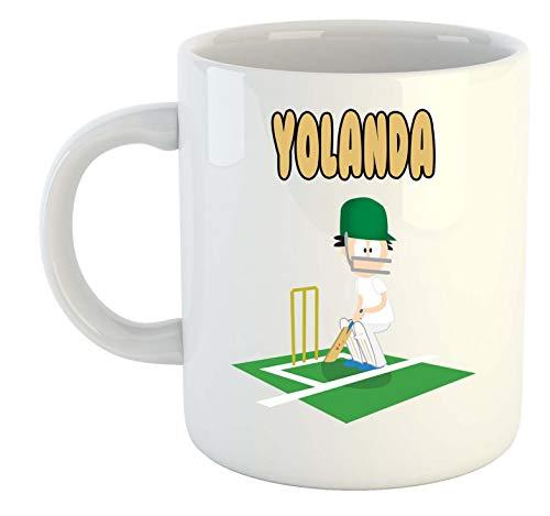 Yolanda – Taza personalizada de críquet – Regalo para cenizas, Copa del Mundo, Hobby
