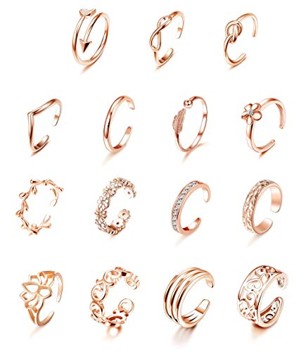 Milacolato 15Pcs Adjustable Toe Rings for Women Various Types Band Open Toe Ring Set Gold Silver Tone Hawaiian Foot Gift Jewelry