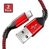 F&ro USB C Ladekabel, (2 Stück 1m) Typ C Nylon 3A Kabel LadeKabel für Samsung Galaxy S10 S10e S9 M20 A40 A50 A70 Huawei P20 Lite P10 Mate20 10 (Rot)