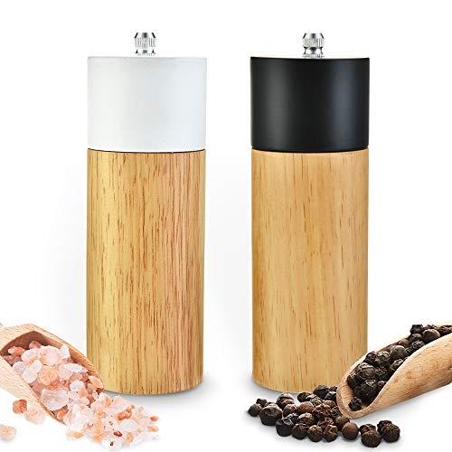 Salt and Pepper Grinder Set, Pepper Grinders,Salt Mill with Adjustable Ceramic Rotor- 6 inches -Pack of 2