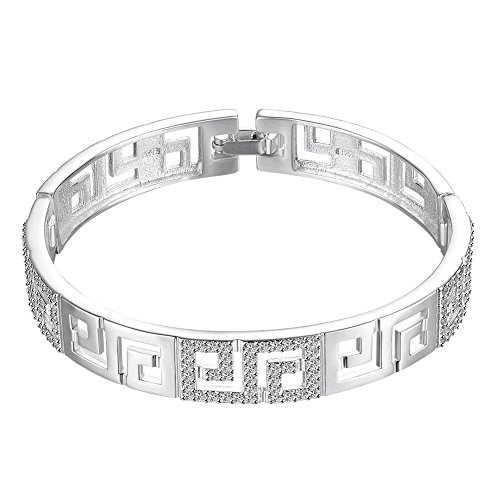 NYKKOLA Beautiful Jewelry Armreif Sterling-Silber 925 Zirkonia 10 mm breit