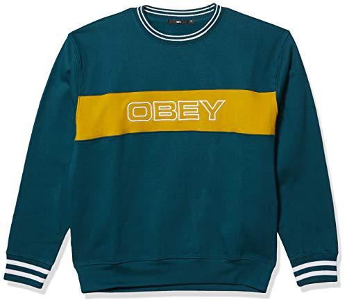 Obey Herren Stand Crewneck Sweatshirt, Blaugrün, Large