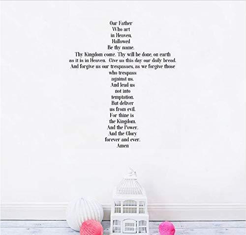 Amen The Lords Gebet Wandaufkleber Pvc Kreuz Wandtattoo Christian Kinderzimmer Wohnzimmer Dekor Abnehmbare Schriftzug Wandbilder 56X67 Cm