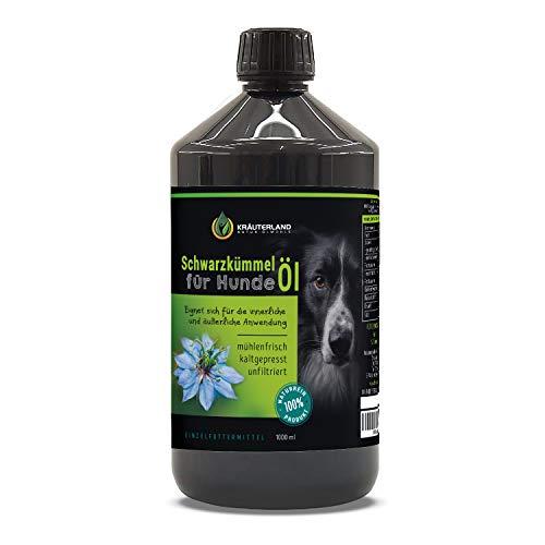 Kräuterland - Schwarzkümmelöl für Hunde 1000ml - 100{29d8c5f18b739278a0b5638c3e2efb5e153b7dbd6bf9c21f9ab2ceb82fdb50e9} rein, ungefiltert, kaltgepresst - mühlenfrisch direkt vom Hersteller - Fütterung & Fellpflege