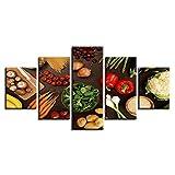 ZDDBD Decoración de Cocina, Arte de Pared, 5 Piezas, Setas Vegetales, Chile, Patata, Zanahoria, Pint...