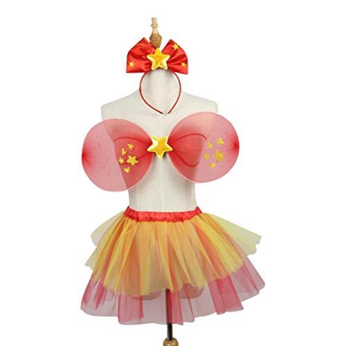 ifundom 3Pcs Nias Nios Conjunto de Disfraces de Hadas Hada ngel ala Tutu Falda Estrella Bowknot Diadema para Vestir Fiesta de Cumpleaos Vestido de Hadas Traje