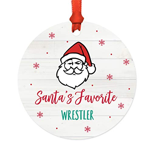 Andaz Press Santa Claus Round Metal Christmas Ornament Gag Gift, Santa's Favorite Wrestler, 1-Pack, X-Mas White Elephant Gift Ideas Him Her, Includes Ribbon and Gift Bag