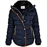 Fashion Thirsty Womens Ladies Quilted Winter Coat Puffer Fur Collar Hooded Jacket Parka Size New (UK 10, Navy Blue/Brown Trim)
