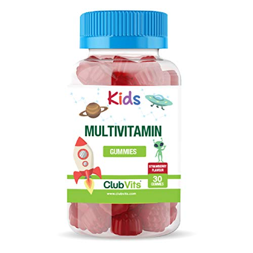 Kids Multivitamin Chewable Gummies - Contains 9 Essential Vitamins + Minerals Including Vitamin C D A & B Vitamins - Childrens Strawberry Flavour - Pack of 30 Chewable Vitamins - UK Made by Club Vits