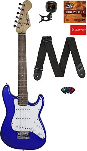 Fender Squier 3/4 Size Kids Mini Strat Electric Guitar Learn-to-Play Bundle with Tuner, Strap, Picks, Fender Play Online Lessons, and Austin Bazaar Instructional DVD - Imperial Blue