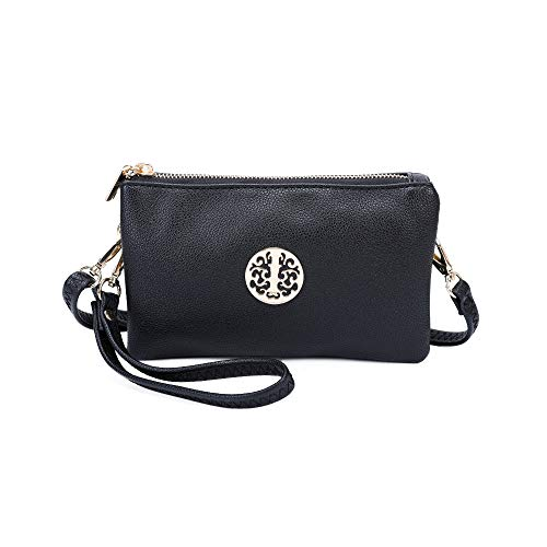 VIVA LONDON Womens Small Clutch Bags with Wristlet and Long Adjustable Strap (Black)