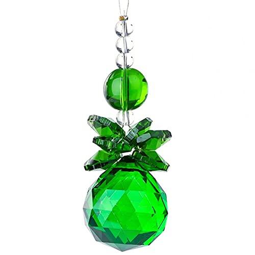 OocciShopp Colgante de Cristal, K9 Crystal Suncatcher Bola de Cristal Pulido Prismas Colgante Adorno Colgante Decoración de la Boda Colgantes de Bolas de Colores al Aire Libre (Verde)