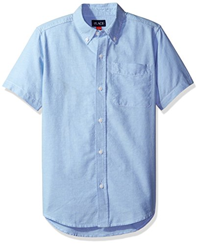 The Children's Place Boys' Little Short Sleeve Uniform Oxford Shirt, LTBLUOXFRD 4765, Small/5/6