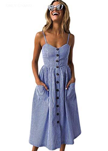 ONLY CHARM Femmes Imprimee Robe de Soirée, Bohemian Rayure sans Manches Dos Nu Robe de Plage d'été Longue Grande Taille, Bleu,XL