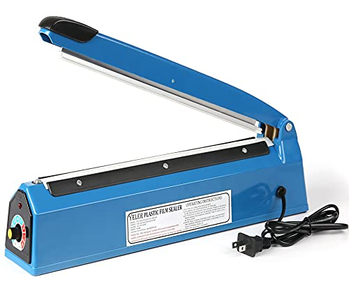 Yeler 12 Inch Impulse Heat Sealer Impulse Bag Sealer, Manual Poly Bag Heat Sealer Machine for Plastic Bags PE PP Bags with Extra Replace Element Grip