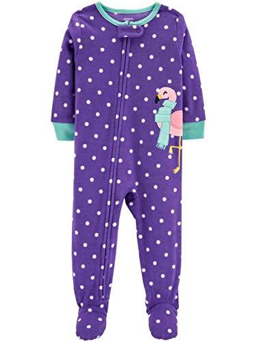 Carter's Schlafanzug 104/110 Fleece Einteiler Mädchen Girl warm Weich Winter Reißverschluss (104/110, lila/Flamingo)