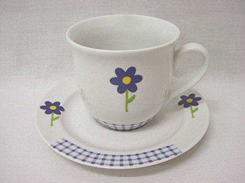 Taza Y Plato TE 200ML Porcelana Porcelana Margarita Azul Vichy Azul
