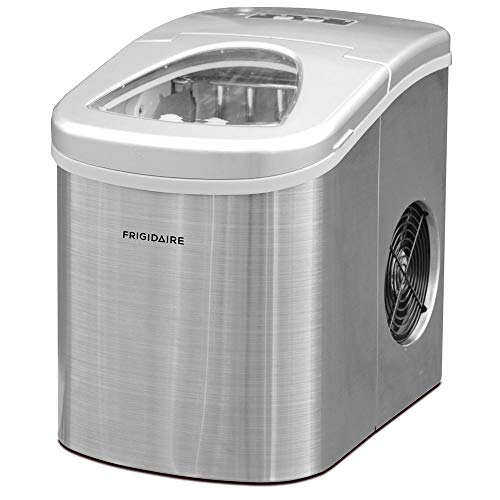 Frigidaire Counter Top Ice Maker, Produces 26 pounds Ice per Day, Stainless Steel with White See-through Lid (Renewed)