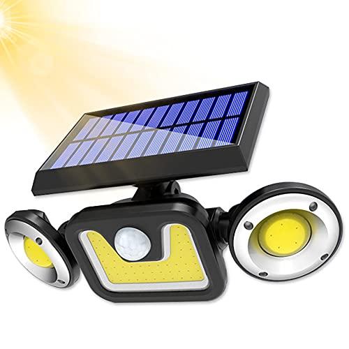 Bizcasa Luz Solar Exterior, Luces Solar Exterior con 3 Cabezas, Lámpara de Pared Solar Apliques de Exterior, iluminación 3 modos Luces Solares de Jardín, Solar Exterior Sensor de Movimiento