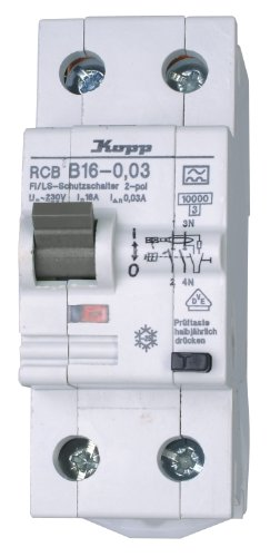Kopp 741615086 FI/LS Kombination (RCB), 2-polig B-Charakteristik nach DIN VDE 0664