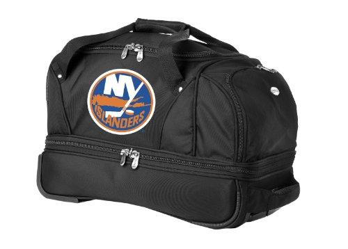NHL New York Islanders Denco 22-Inch Drop Bottom Rolling Duffel Luggage, Black