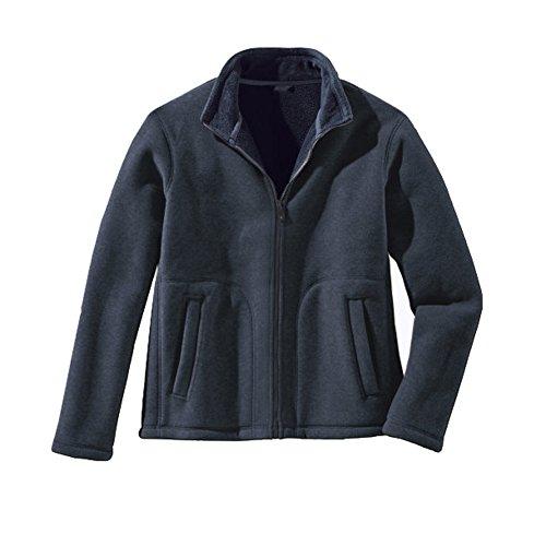 Luciano Herren Fleece Blouson Pullover Strickjacke (XXL, Rauchblau-Marine)