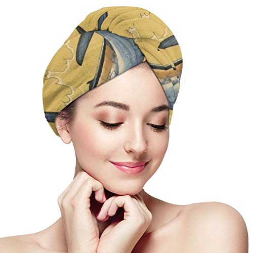 Old Man and The Sea Great Wave Microfiber Hair Towel Wraps with Button for Women Quick Dry Anti-frizz Head Turban for Long Thick Curly Hair Super Abso