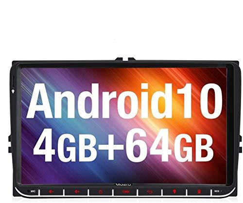 Vanku Android 10 Autoradio für VW Golf Radio Mit Navi Europakarten Unterstützt Qualcomm Bluetooth 5.0 DAB + WiFi 4G 9 Zoll Touchscreen