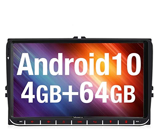 Vanku Android 10 Autoradio für VW Radio Mit Navi 4G+64G PX6 16GB Europakarten Unterstützt Bluetooth DAB + WiFi 4G USB MicroSD 9 Zoll