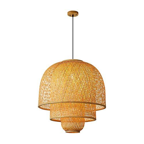 Qyyru Linterna colgante de mimbre de bambú natural Lámpara de techo de mimbre de mimbre Lámpara colgante de estilo natural campestre Iluminación natural Pastoral E27 Sala de estar Café Bar Restaurante