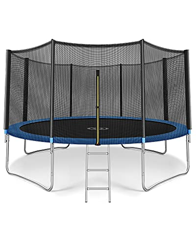 CAMBIVO 12 FT Trampoline for Kids,Outdoor Recreational Trampoline with Enclosure Net,Backyard Rebounder with Ladder for Children Jumping Exercise Fitness, ASTM Approved