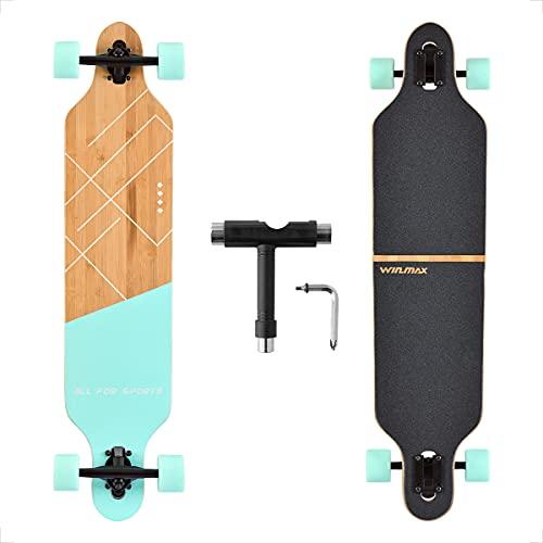 WIN.MAX Longboard Skateboard, 7-lagigem Ahornholz Cruiser komplettes Board, mit ABEC-11 Kugellagern und T-Tool (Blue)