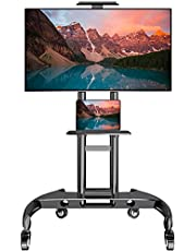 $129 » Mobile/Rolling TV Cart with Wheels for 32-70 Inch LCD LED Flat/Curved Screen TVs, UL Certificated Outdoor/Floor TV Stand, Height Adjustable TV Trolley with Shelf Up to 132 lbs Max VESA 600x400mm