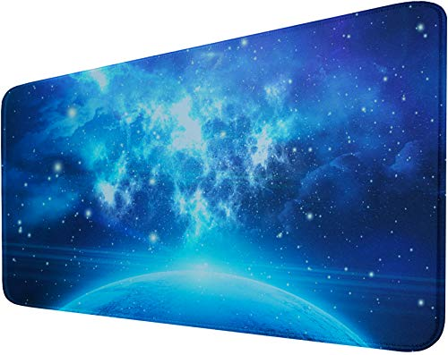 Extended Gaming Mouse Pad with Nonslip Base (31.5X15.7In) Heavy/Thick, Comfy, Waterproof Computer Keyboard Pad Mat for Esports Pros/Gamer/Desktop/Office/Home-Blue