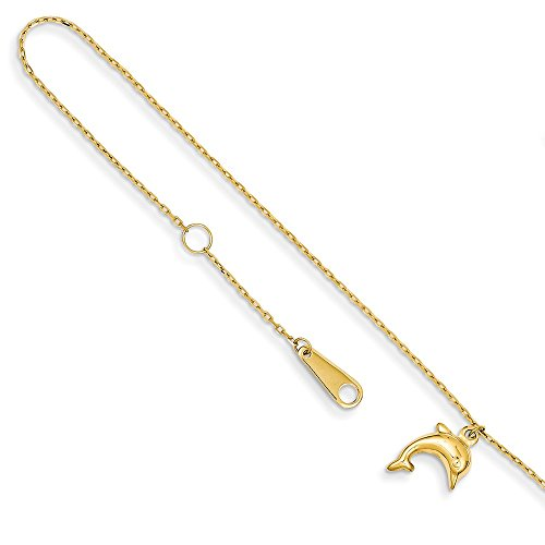 Solid 14k Yellow Gold Dolphin Pendant Charm with 1 inch Extension Anklet 10' (1mm)