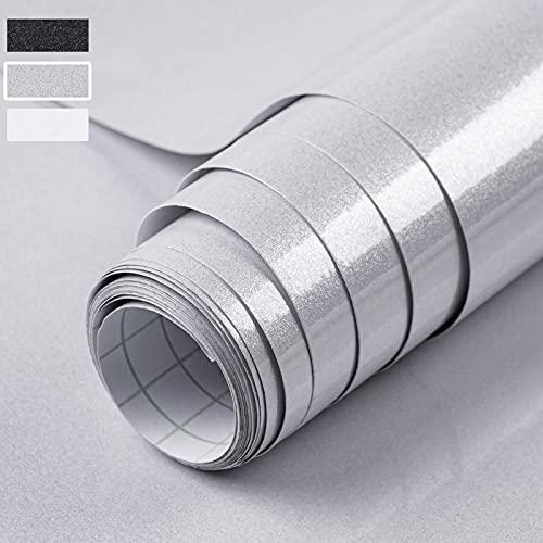 Niviy Klebefolie Möbel 40 X 300 CM Grau Möbelfolie Oberfläche Schimmert Glitzert Dezent Selbstklebende Folie Dekorfolie Küche Oberflächenschutz Wasserdicht ölbeständig PVC Hochglanz Folie