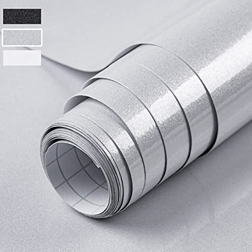 Niviy Carta Adesiva per Mobili 59.5x300cm Grigio Pellicola Adesiva Mobili Impermeabile e Antiolio Effetto Brillantino Cucina Bagno Ufficio