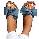 Summer Sandals for Women 2020,Slide Sandals for Women/Cork Sole/Canvas Knot Bow/Womens Slides/Sandals for Women