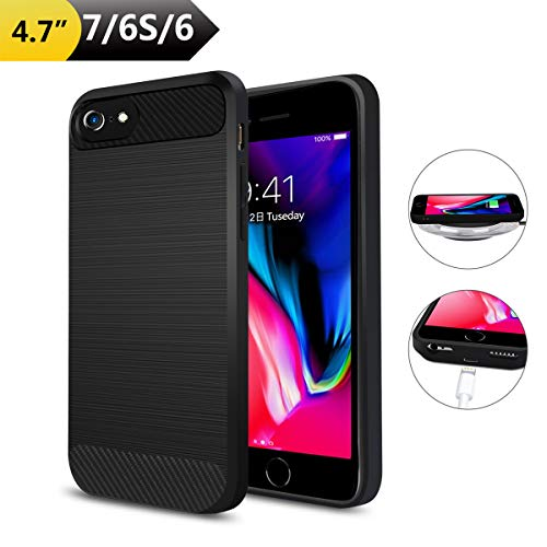 "Qi Wireless Charging Case for iPhone 7/6/6S, ANGELIOX Wireless Charger Charging Receiver Back Cover,Soft TPU Protective Case,Brushed Surface Finish,with Cable Charging Port(4.7""-Not Battery)"