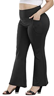 Plus Size Bootcut Yoga Pants with Pockets for Women High Waist Bootleg Pants Tummy Control Running Sports Pants