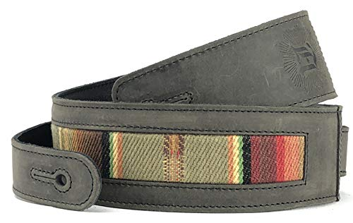 "Southwest Inspired Full Grain Leather Guitar Strap - For Electric, Acoustic, and Bass Guitars - El Camino by Anthology Gear (2"" Width, Aged Steel with Saddle Fabric)"