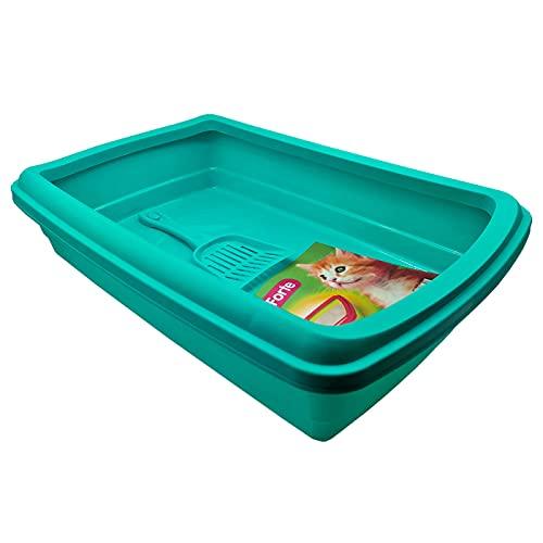 Bandeja para Gatos,Productos para Mascotas, Arena y Limpieza del hogar, arenero de Gato con Pala 47x31 x11cm (Azul TURUQESA)